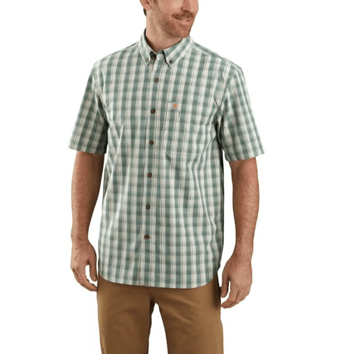 Carhartt Men's - Relaxed Fit Lightweight Short-Sleeve Button-Front Plaid Shirt - Musk Green WORK AP.SHIRT SHORTSLEEVE CARHARTT, INC.