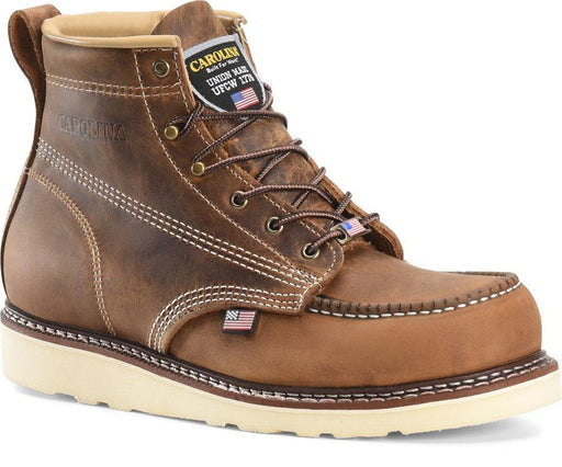 "Carolina Men's - 6"" USA Made Wedge Work Boot - Moc toe MENS BOOTLACE WORKNON-SAFETY CAROLINA SHOE COMPANY"
