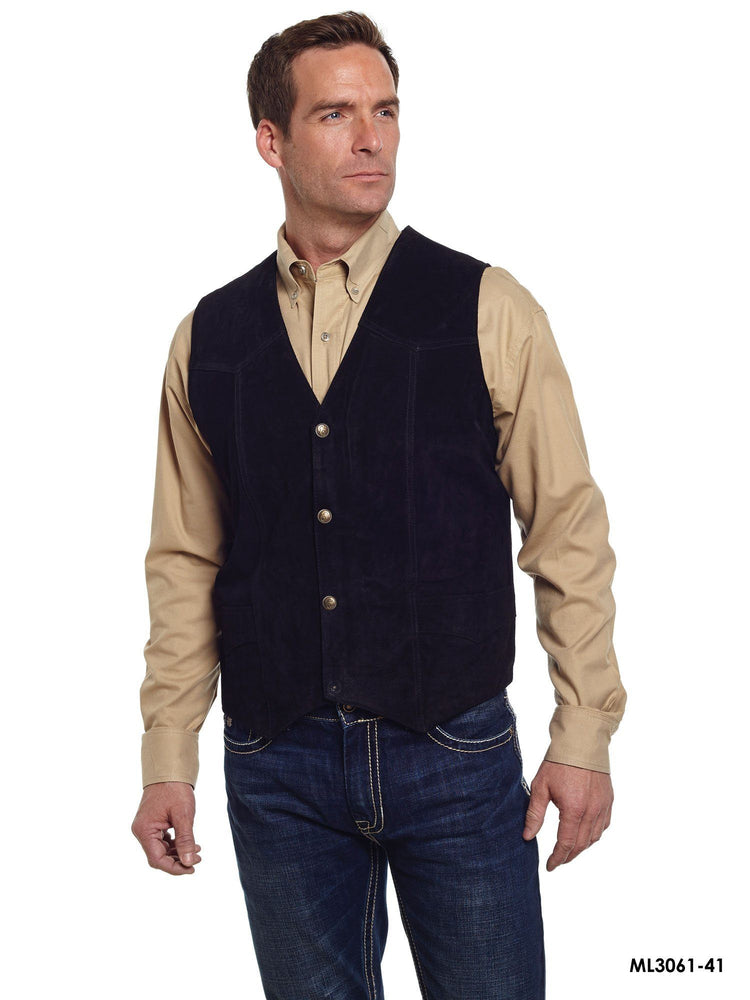 Cripple Creek Men's Leatherwear Black Vest ME.AP.MISC.VEST - LEATHER CIT GROUP/COMM. SERVICES