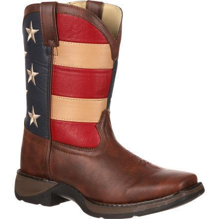 "Durango Kid's 8"" Patriotic Western Flag - Square Toe CHILDRENSBOOTSQ TOE DURANGO BOOT"