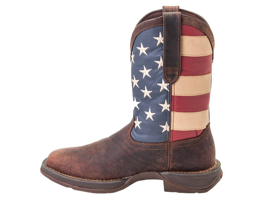 "Durango Men's 11"" Rebel Patriotic Pull-On Western Boot MENS WESTERN SQUARETOE DURANGO BOOT"