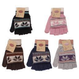 Fair Isle Convertable Fingerless Gloves/Mittens ACC.LEATHER GLOVE WOMENS GOLD MEDAL HOSIERY