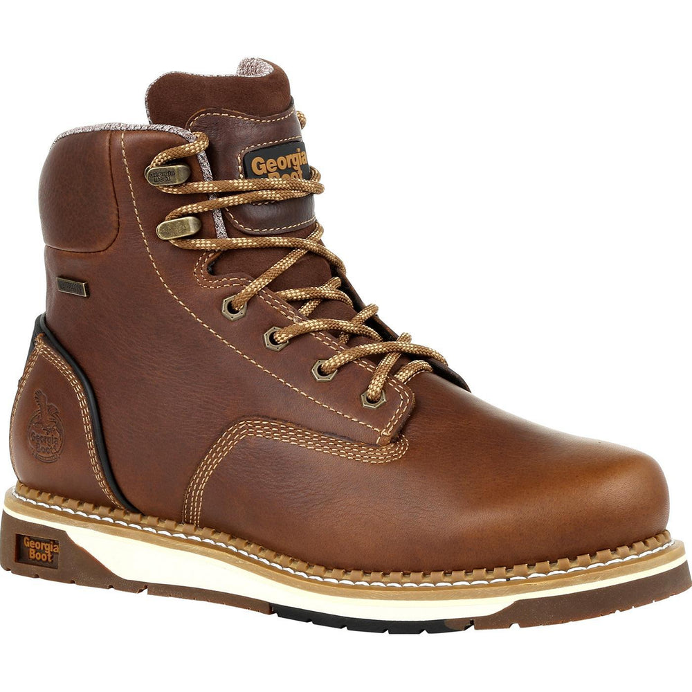 "Georgia Men's - 6"" Waterproof Amp LT Wedge - Round Toe MENS LACEWATERPRF NON- SAFETY GEORGIA BOOT"