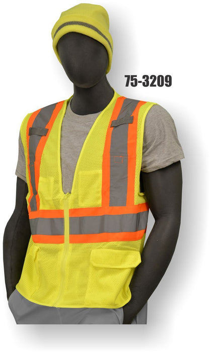 Majestic Yellow Class 2 Mesh Zipper Vest ME.AP.OUTERWEAR HI VISABIL MAJESTIC GLOVE