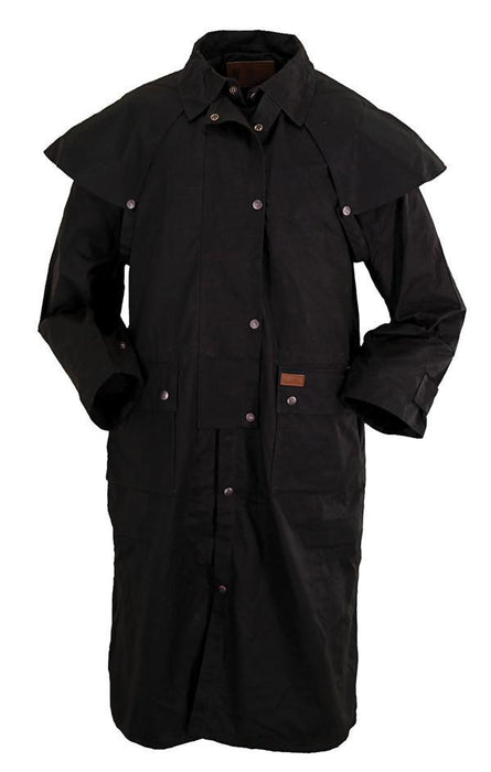 Outback Black Oilskin Long Low Rider Duster ME.AP.OUTERWEAR DUSTER OUTBACK TRADING CO. INC.