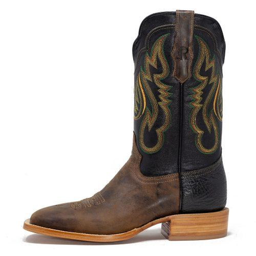 "R Watson Men's - 11"" Brown Goat Leather Sole Cowboy Boot - Square Toe MENS WESTERN SQUARETOE R.WATSON BOOTS"