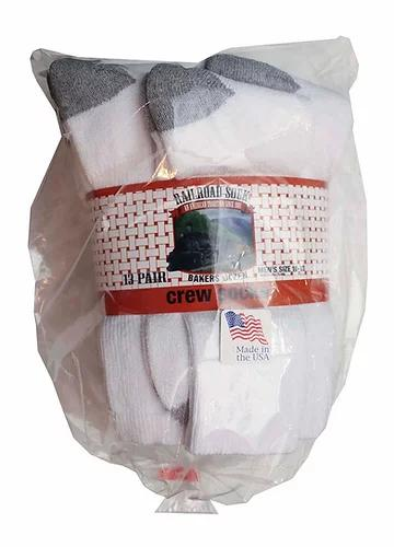 Railroad Sock Co. - White Crew Socks - Bakers Dozen MISC.ACC.SOCKS MENS RAILROAD SOCK CO.