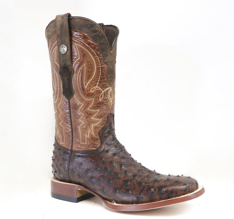 "Tanner Mark Men's - 13"" Italo Oryx/Marble Brown Ostrich - Wide Square toe MENS BOOTWESTERN HAND-MADE YWD INC."
