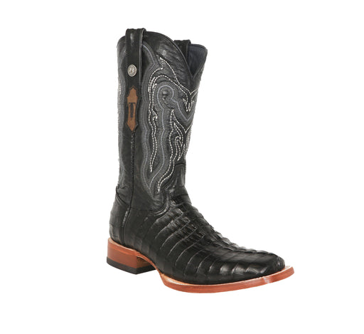 "Tanner Mark Men's - 13"" Marble Black Caiman Tail - Wide Square toe MENS BOOTWESTERN HAND-MADE YWD INC."