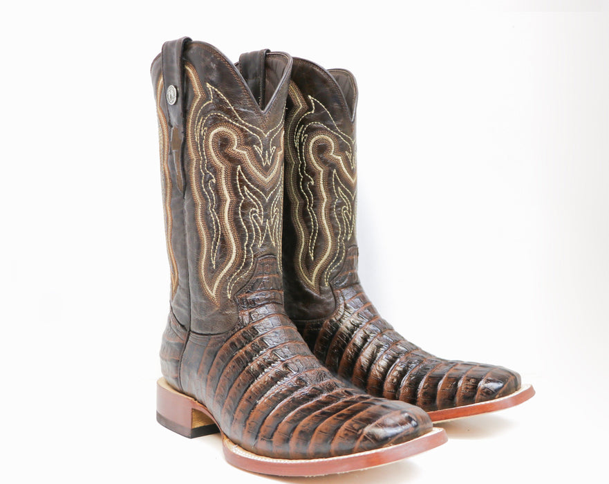 "Tanner Mark Men's - 13"" Marble Brown Caiman Tail - Wide Square toe MENS BOOTWESTERN HAND-MADE YWD INC."