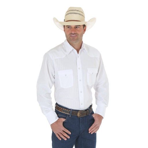 Wrangler Men's - Long Sleeve Western Snap Dobby Stripe Shirt White - Tall ME.AP.SHIRT L.S.-SOLID VF JEANSWEAR, INC.