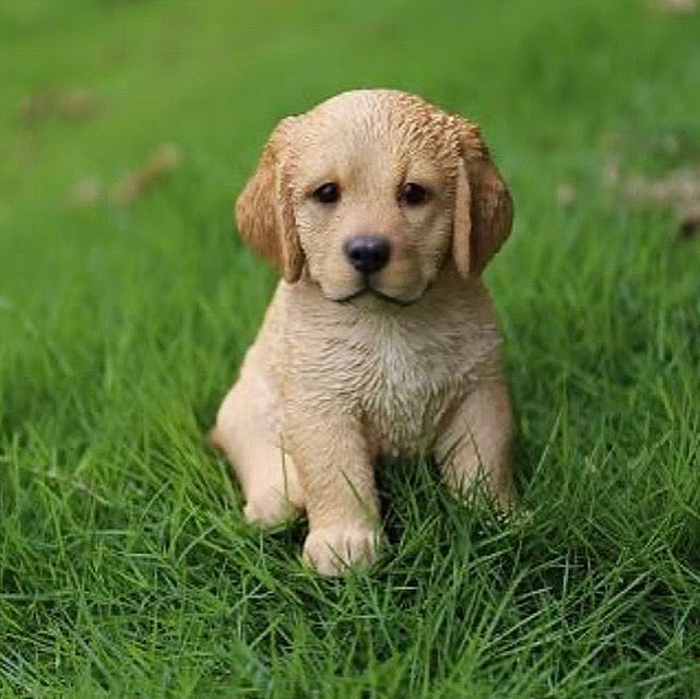 Golden Retreiver pup statue