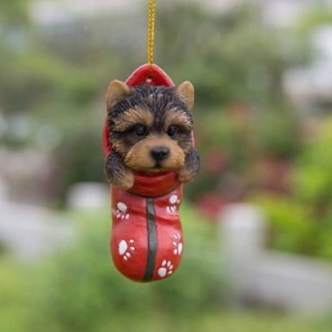 Yorkie pup Holiday Ornament