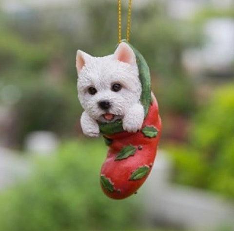 White Terrier pup Holiday Ornament