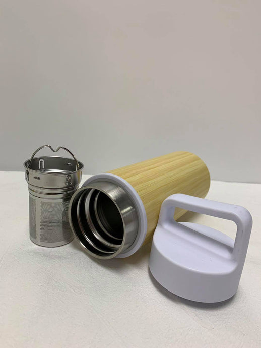 Portable Lid Bamboo Tea Thermo