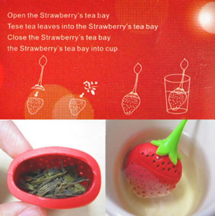 Silicone tea infuser Strawberry Loose Herbal Spice Infuser Filter Diffuser Tea Leaf Strainer Kitchen Tea set Supplies