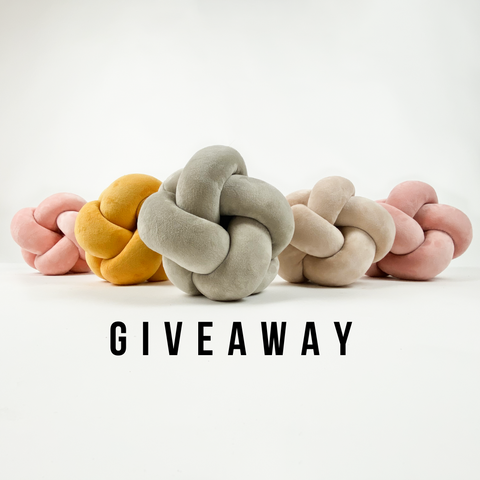 small velvet knot pillow lined up giveaway