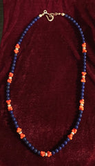 Lapis Lazuli, red coral and sterling silver necklace   An Original Design by Angie
