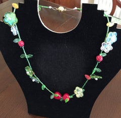 Quirky Fruit and Flowers Necklace  An original Design by Angie