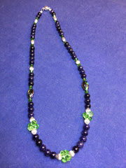 Blue Goldstone and Swarovski Necklace  An Original Design by Angie