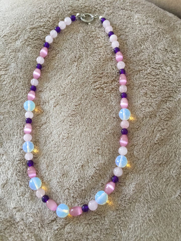 Moonstone, amethyst, rose quartz and Mexican opal necklace.