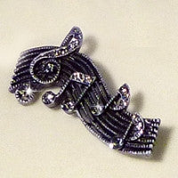 Brooch Wavy Stave With Treble Clef & Notes Design