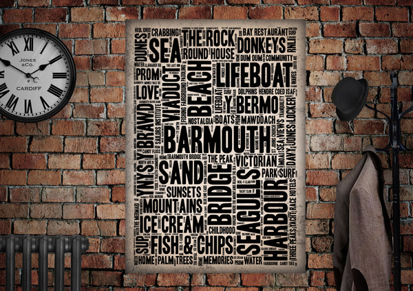 Barmouth Welsh Towns Letter Press Style Poster