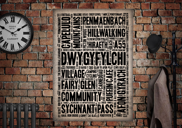 Dwygyfylchi Town Letter Press Style Poster