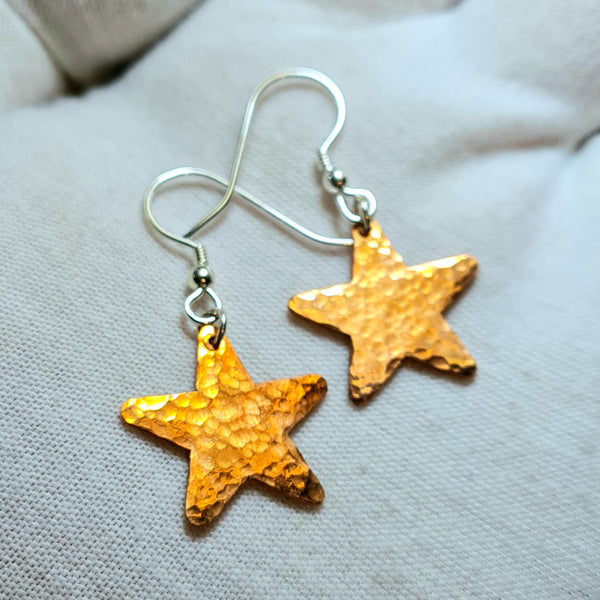 Welsh Copper Star Earrings