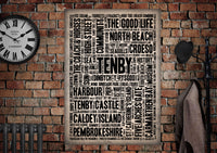 Tenby Welsh Towns Letter Press Style Poster