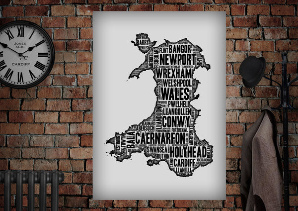PLACES OF WALES Letter Press Style Poster