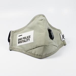 "Handmade PM 2.5 protective mask + filters(2) ""End Police Brutality"" - Grey - 002"
