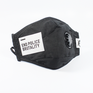 "Handmade PM 2.5 protective mask + filters(2) ""End Police Brutality"" - Black"