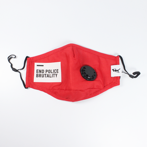 "Handmade PM 2.5 protective mask + filters(2) ""End Police Brutality"" - Red"