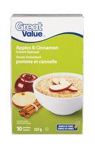 Great Value Apple and Cinnamon Instant Oatmeal
