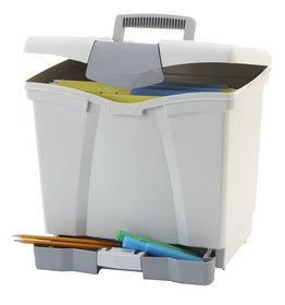 Portable Grey File Box with Drawer