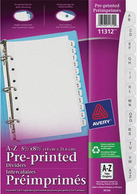 Mini 8.5in X 5.5in Preprinted A-Z Dividers