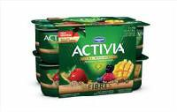 Activia Fibre Strawberry-Grains/Wild berry-Grains/Mango-Grains 2.9% M.F. Probiotic Yogurt