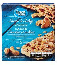 Great Value Sweet & Salty Cashew Chewy Nut Granola Bars