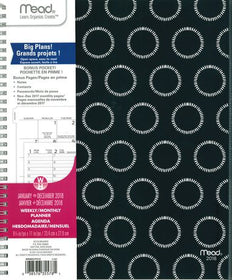 Black & White Medallion Large Appointment Planner