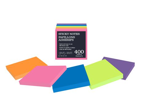 Assorted bright sticky notes in a 2x2 cube