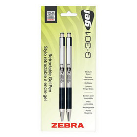 G-301 Retractable Stainless Steel Gel Pen - Black