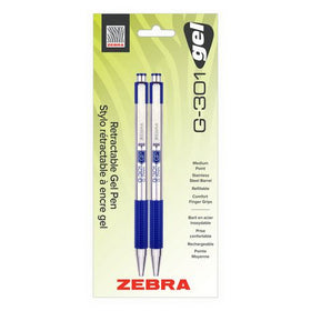 G-301 Retractable Stainless Steel Gel Pen - Blue
