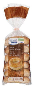 Great Value 100% Whole Wheat Bagels