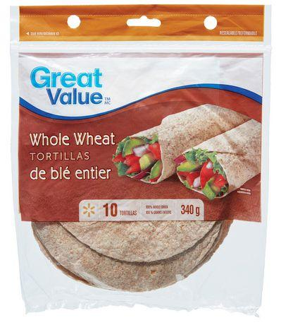 Great Value Whole Wheat Tortillas 7""