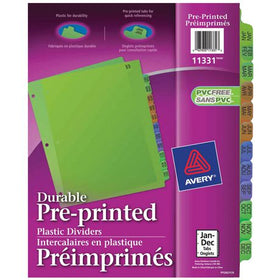 Plastic Preprinted Jan-Dec Tab Dividers