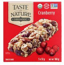 Taste of Nature Gluten Free Quebec Cranberry Carnival Organic Granola Bars Family Pack