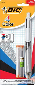 4 Color Medium Point Retractable Ball Pen + Pencil