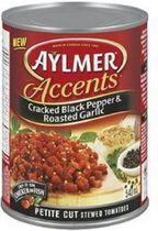 Aylmer® Accents Cracked Black Pepper and Roasted Garlic Stewed Tomatoes