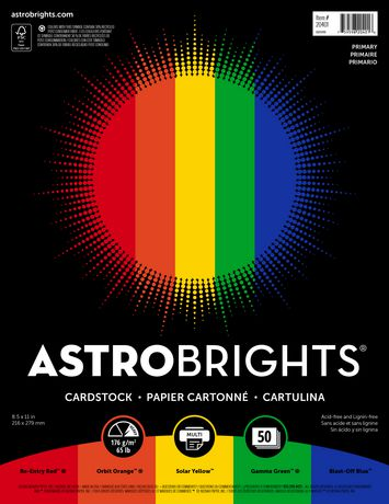 Astrobrights Primary Assorted 5-Color Cardstock